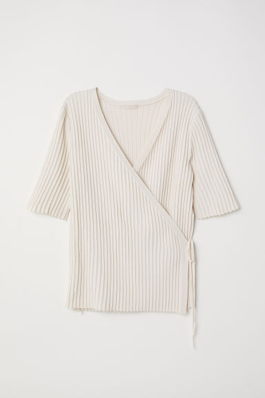 Rib-knit wrapover top - Natural white - Ladies | H&M