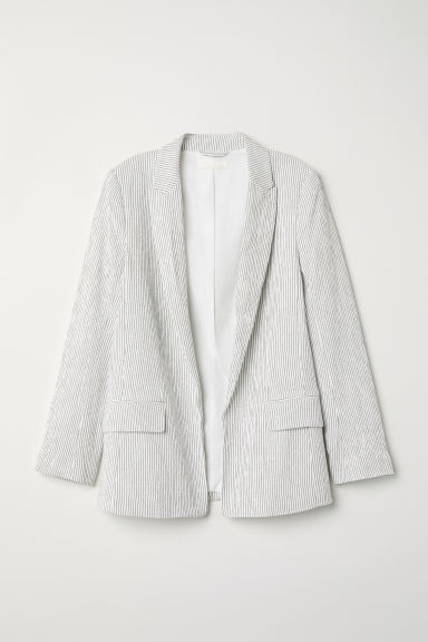 Textured-weave jacket - White/Black striped -  | H&M
