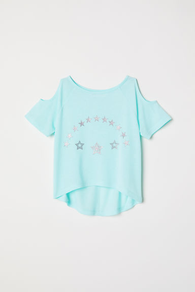 Cold shoulder top - Light turquoise - Kids | H&M CN