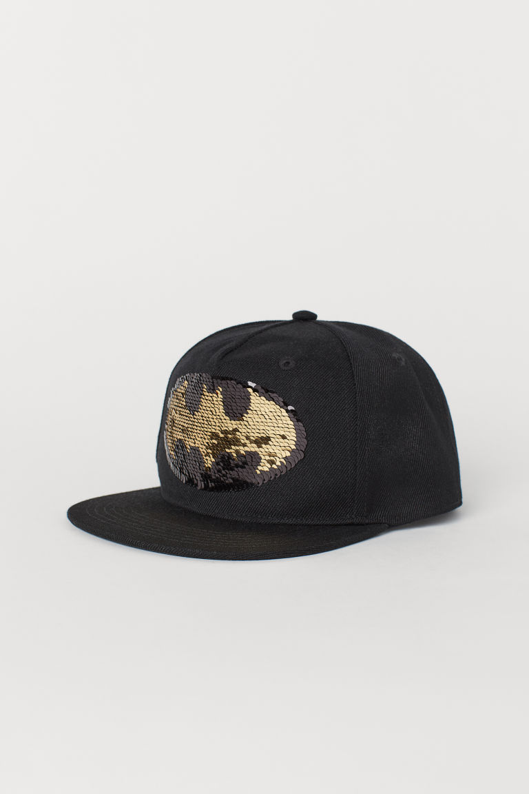 Cap with an appliqué - Black/Reversible sequins -  | H&M