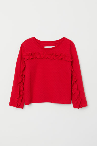 Flounced jersey top - Red - Kids | H&M CN