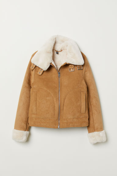 Jacket with Faux Fur Lining - Dark beige -  | H&M US