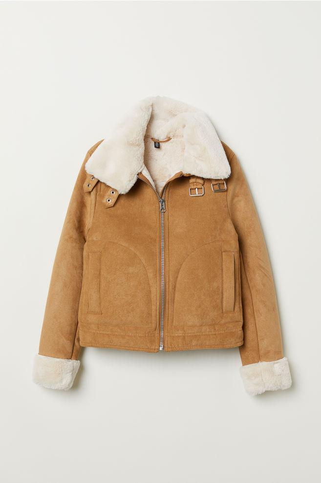 6356bee14b4 Jacket with Faux Fur Lining - Dark beige -