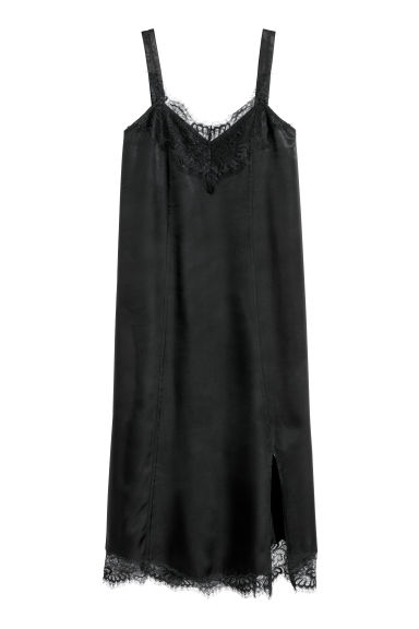Dress with lace - Black - Ladies | H&M