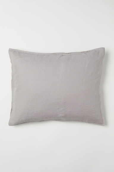 Washed linen pillowcase - Light mole - Home All | H&M CN
