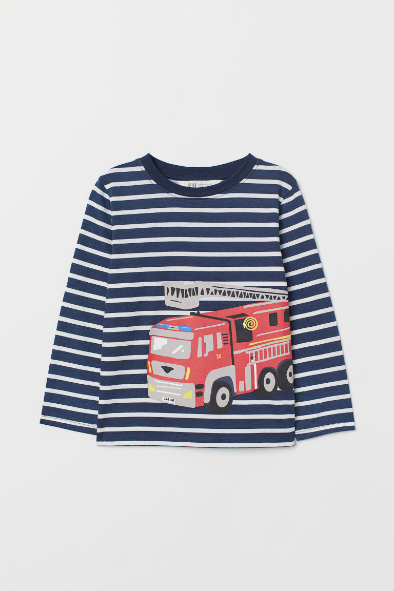 Printed jersey top - Dark blue/Fire engine - Kids | H&M CN