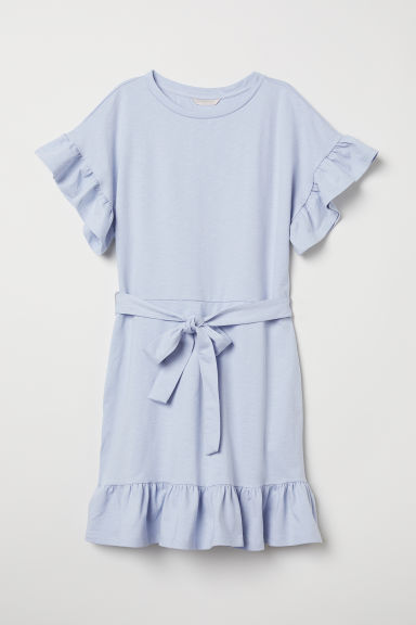 Flounced jersey dress - Light blue - Ladies | H&M