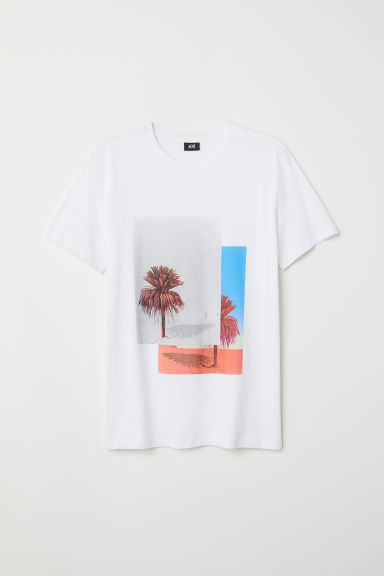 T-shirt with a motif - White/Trees - Men | H&M GB