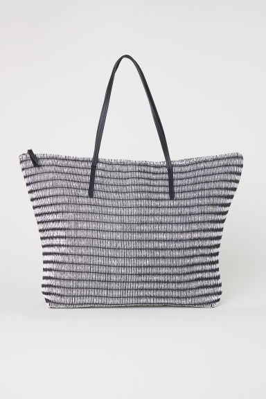 Straw bag - Black/White - Ladies | H&M