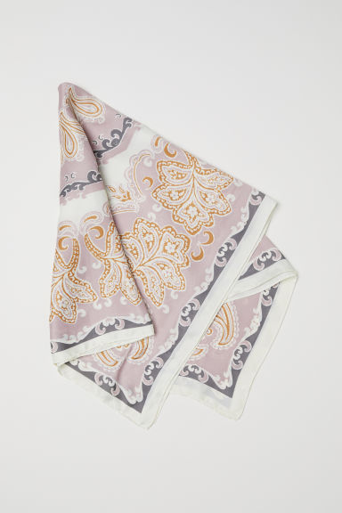 Patterned satin scarf - Powder pink/Patterned - Ladies | H&M CN