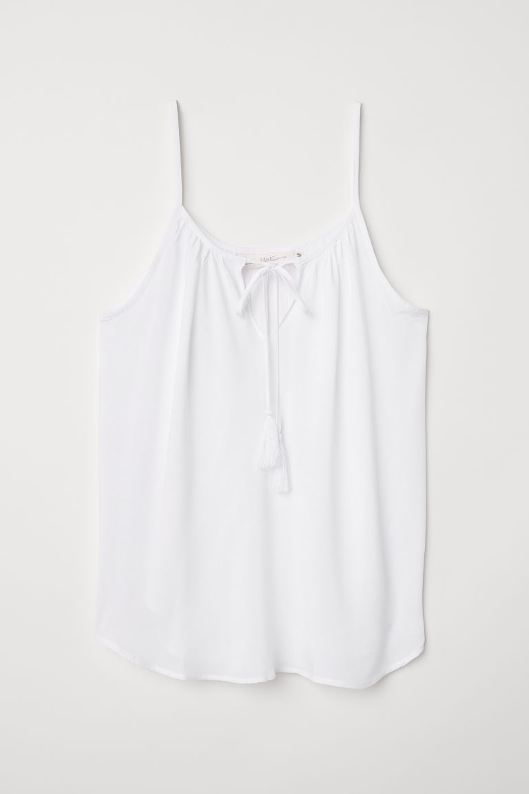 Tasselled top - White - Ladies | H&M