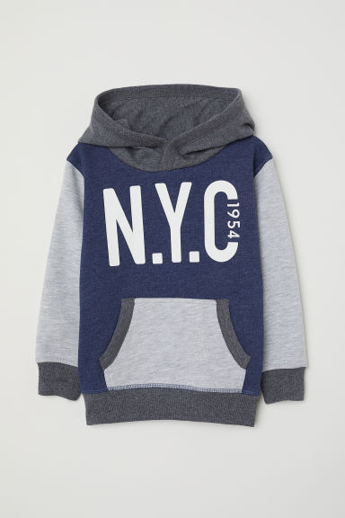 Printed hooded top - Dark blue marl/Block-coloured -  | H&M
