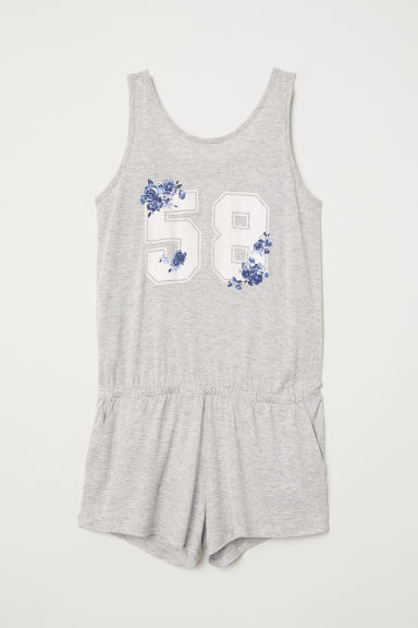 Printed playsuit - Light grey marl/58 - Kids | H&M