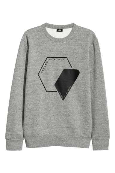 Sweatshirt with a motif - Grey marl/Beyond -  | H&M CN