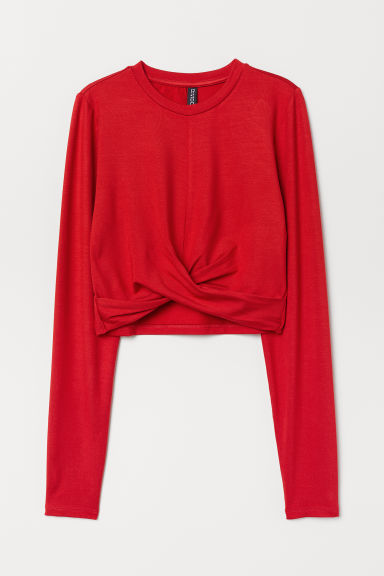 Short knot-detail jersey top - Red -  | H&M