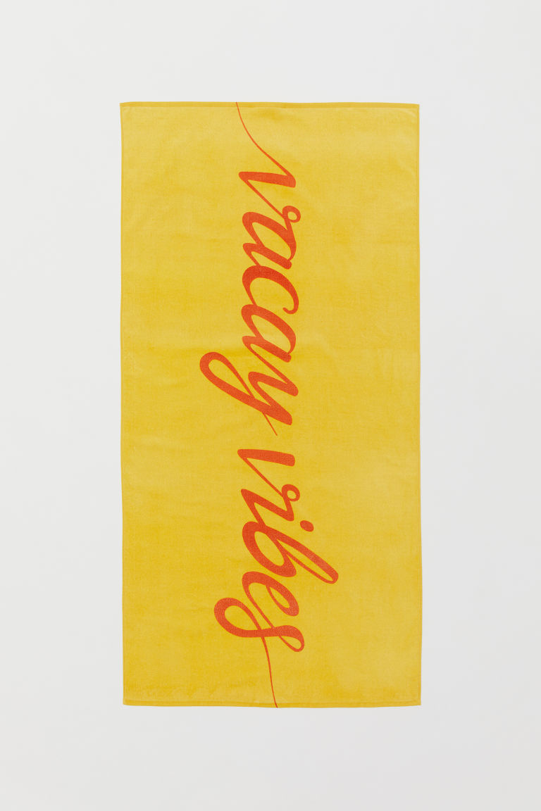 Beach Towel - Yellow/Vacay Vibes -  | H&M US