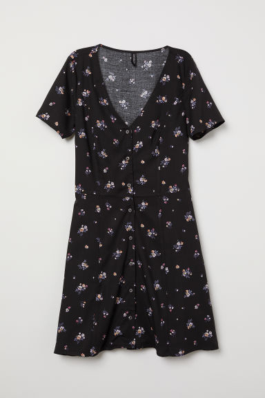 Dress with buttons - Black/Floral -  | H&M CN