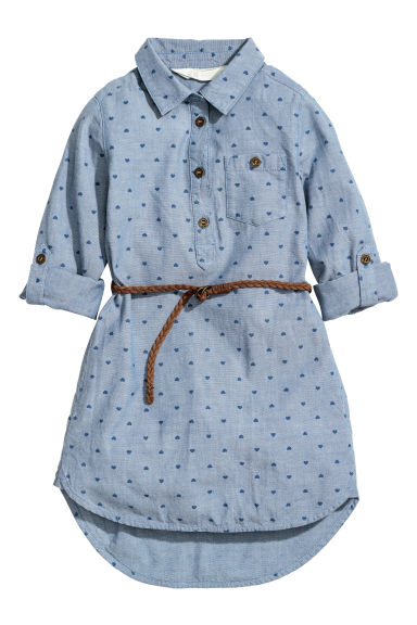 Shirt dress with a belt - Blue/Hearts - Kids | H&M CN