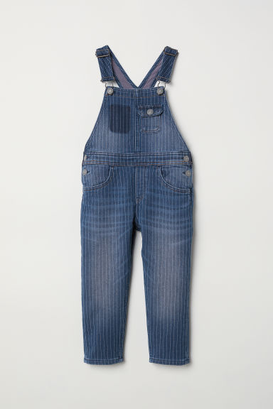 Denim dungarees - Denim blue/Pinstriped - Kids | H&M