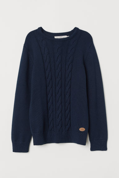 Textured-knit jumper - Dark blue - Kids | H&M
