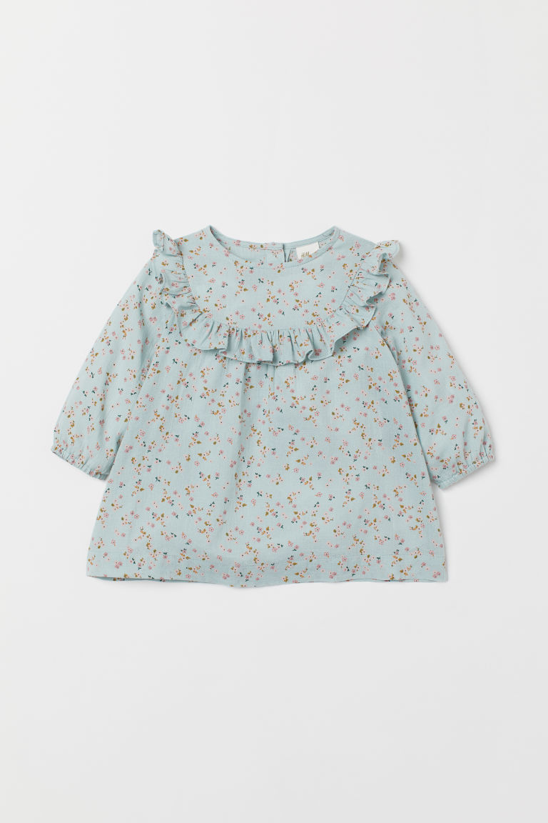 Dress with a frill trim - Light turquoise/Floral - Kids | H&M IN
