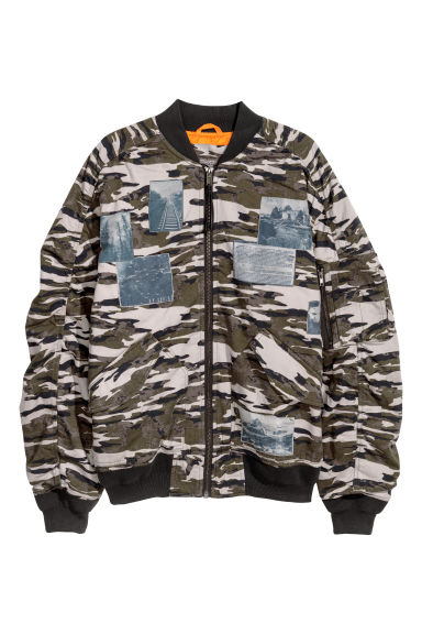 Padded bomber jacket - Grey/Patterned -  | H&M IE