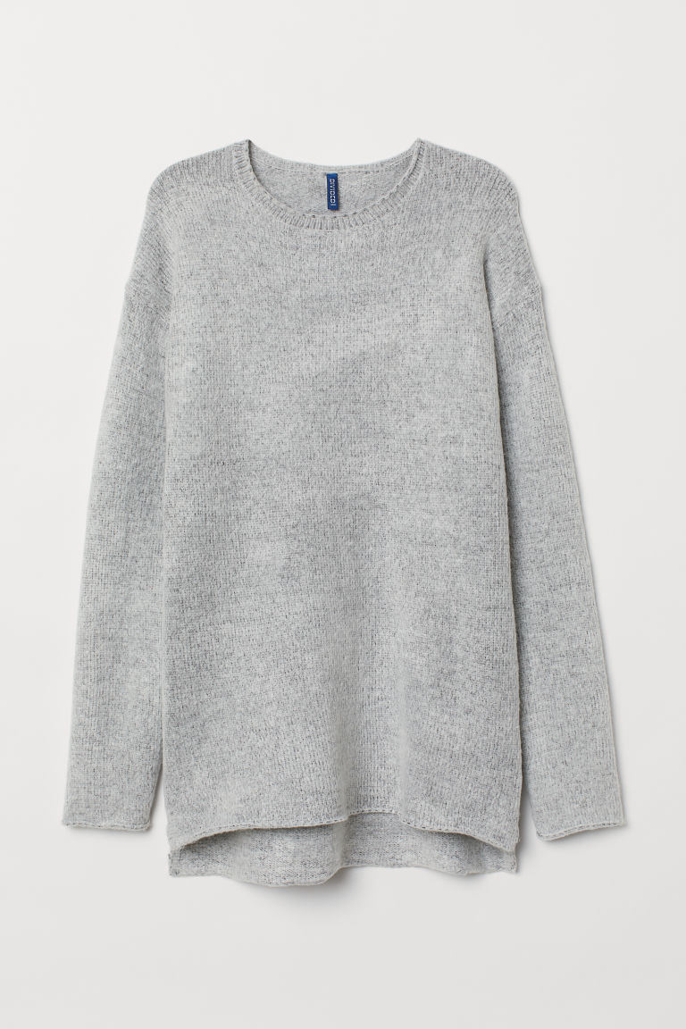 Fine-knit jumper - Light grey marl - Men | H&M