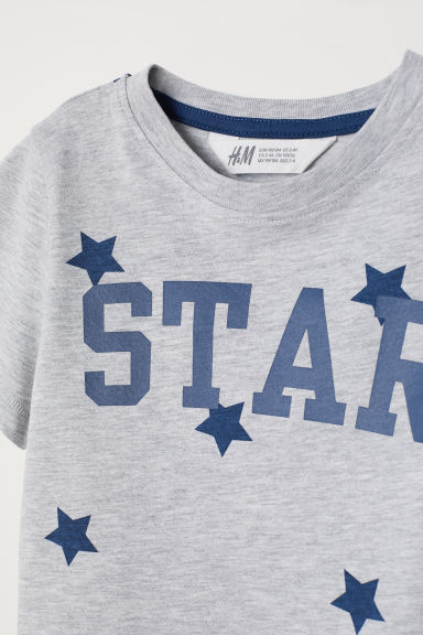 Printed T-shirt - Light grey/Star -  | H&M CN
