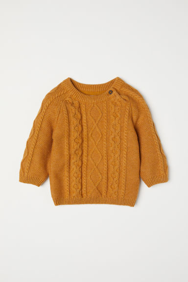 Cable-knit jumper - Mustard yellow - Kids | H&M CN