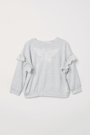 Fine-knit jumper with frills - Light grey marl - Kids | H&M CN