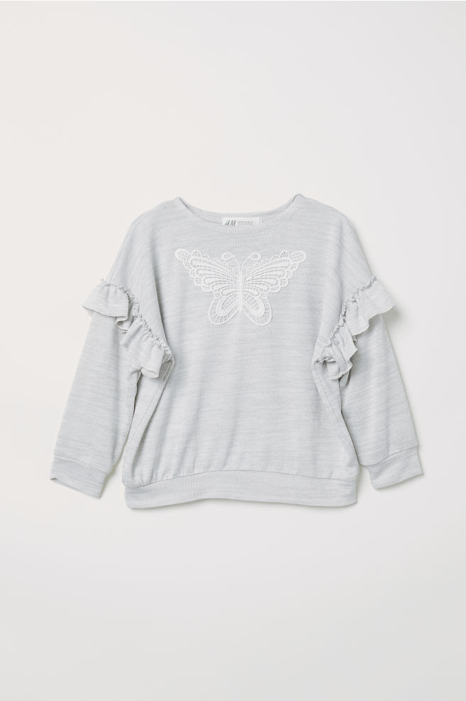 Fine-knit Sweater with Ruffles - Light gray melange - Kids | H&M CA 4