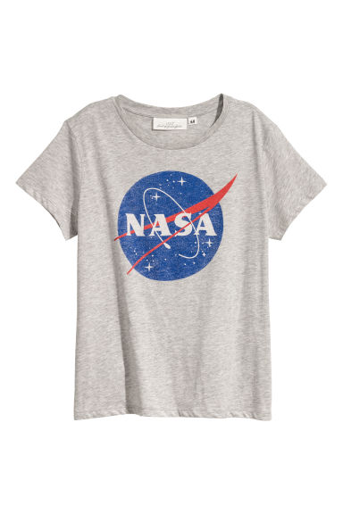 Printed T-shirt - Light grey/NASA - Ladies | H&M GB