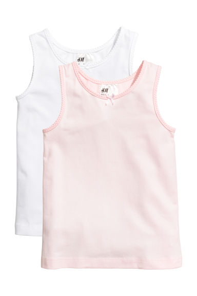 2-pack vest tops - Light pink/White - Kids | H&M