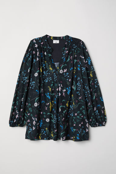 Patterned jersey top - Dark green/Floral - Ladies | H&M CN