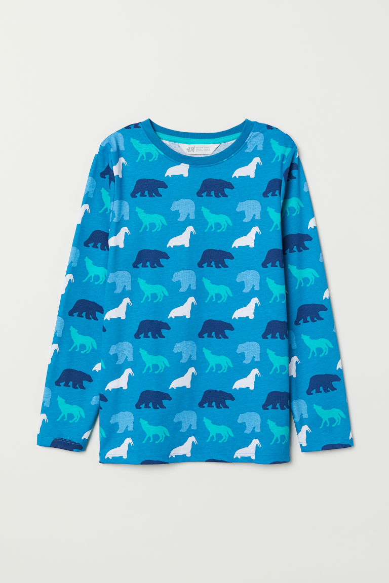 Printed jersey top - Turquoise/Animals - Kids | H&M CN