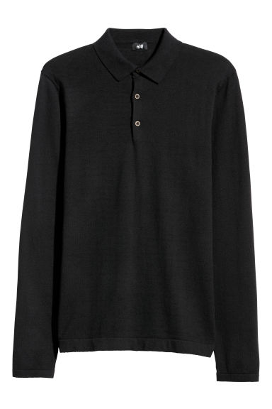 Fine-knit jumper with a collar - Black - Men | H&M GB