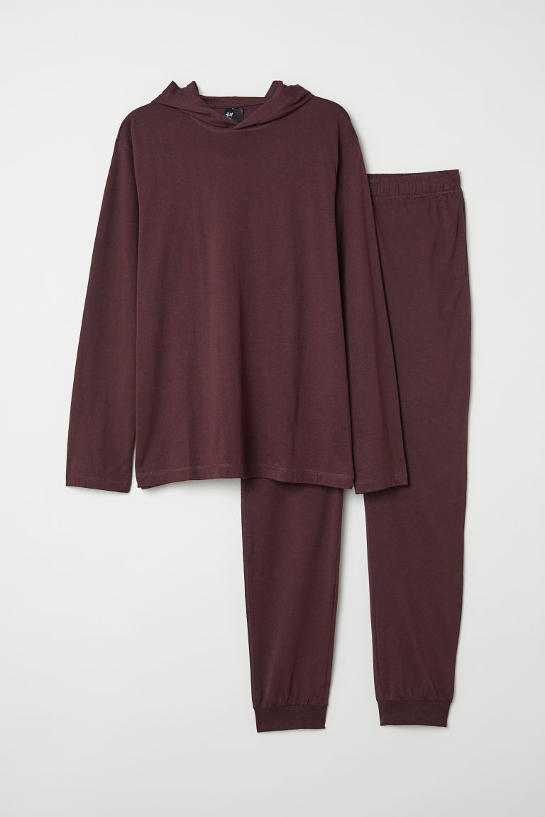 Pyjamas with a hooded top - Burgundy -  | H&M CN