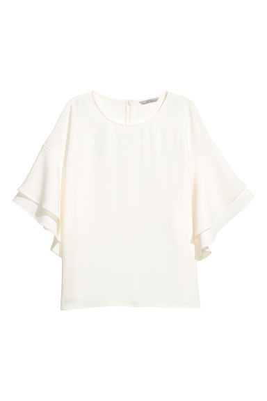 Flounce-sleeved top - White -  | H&M