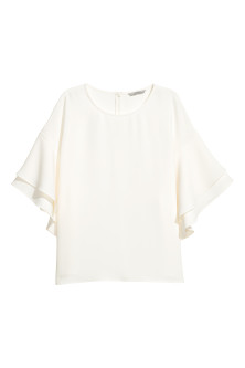 Flounce-sleeved top