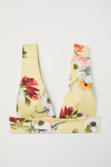 Scuba bikini top - Yellow/Floral - Ladies | H&M