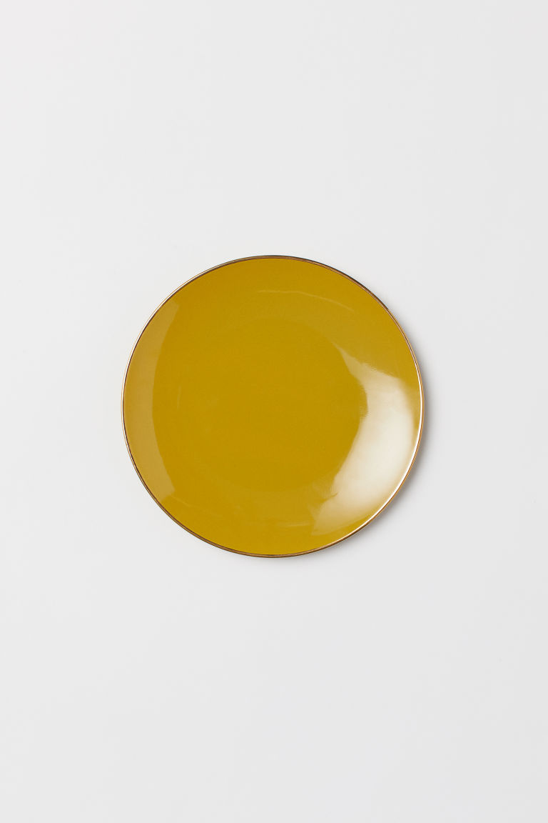 Porcelain plate - Mustard yellow - Home All | H&M CN