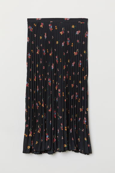 Pleated skirt - Black/Floral -  | H&M