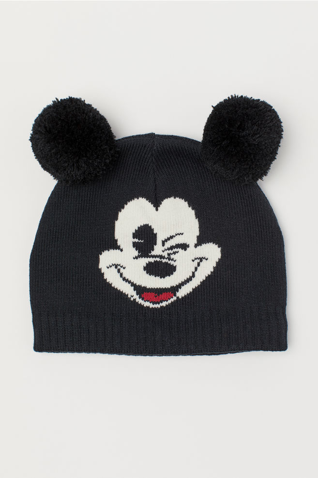 1a35dca6939 Knitted hat - Black/Mickey Mouse - Kids | H&M ...