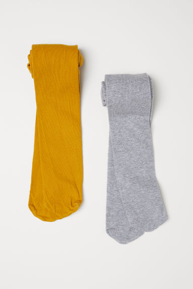 2-pack fine-knit tights - Mustard yellow - Kids | H&M IE