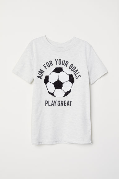Printed T-shirt - Grey/Reversible sequins - Kids | H&M