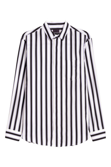Cotton poplin shirt - White/Striped -  | H&M