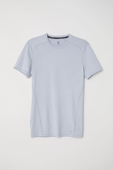 Short-sleeved sports top - Light grey marl - Men | H&M