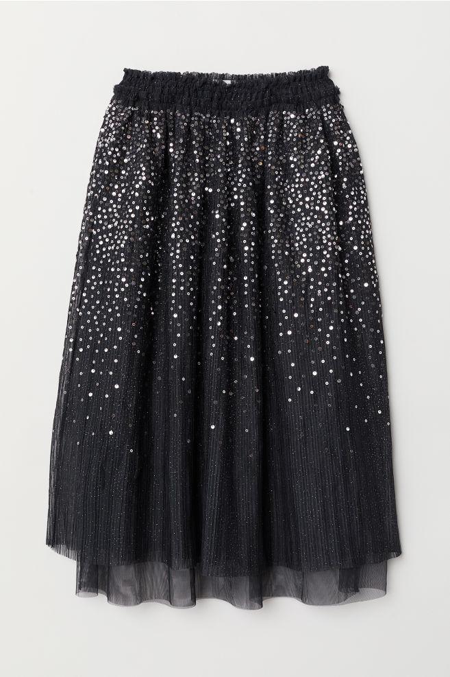 41c48635 Tiulowa spódnica z cekinami