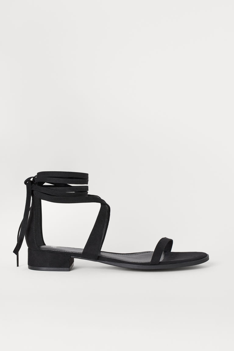 Riemensandalen - Schwarz/Velourslederimitat - Ladies | H&M AT