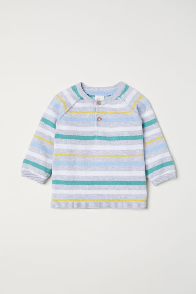 Fine-knit jumper with buttons - Light grey/Striped - Kids | H&M